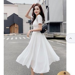 NWT V-Neck Short Sleeve Chiffon Midi A-Line Dress